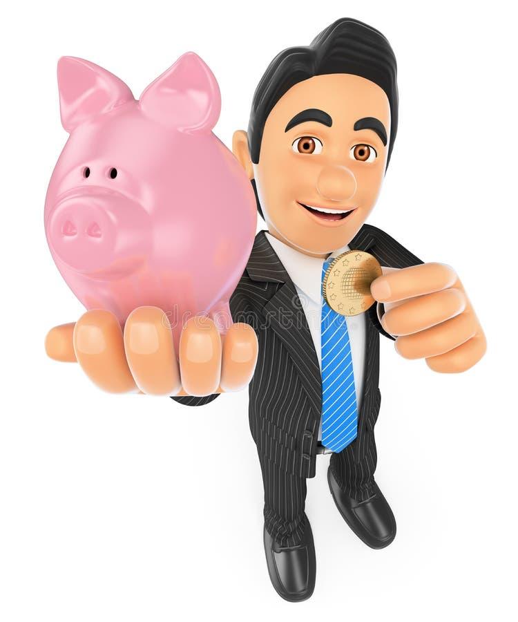 hombre de negocios 3D que pone una moneda en una hucha Concepto de ahorro libre illustration