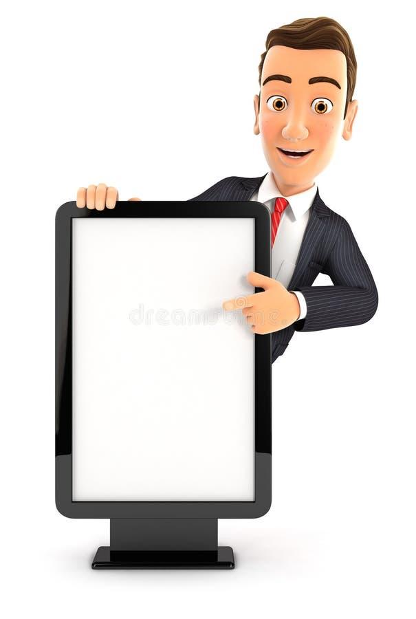 hombre de negocios 3d que señala a la cartelera en blanco libre illustration