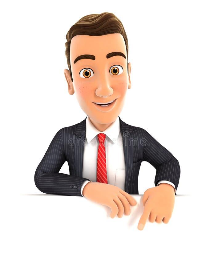 hombre de negocios 3d que señala a la pared vacía stock de ilustración