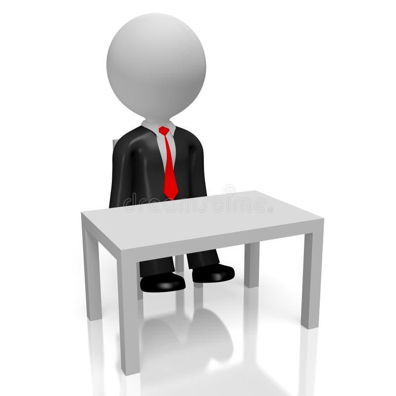 hombre de negocios 3D que se sienta detrás de un escritorio stock de ilustración