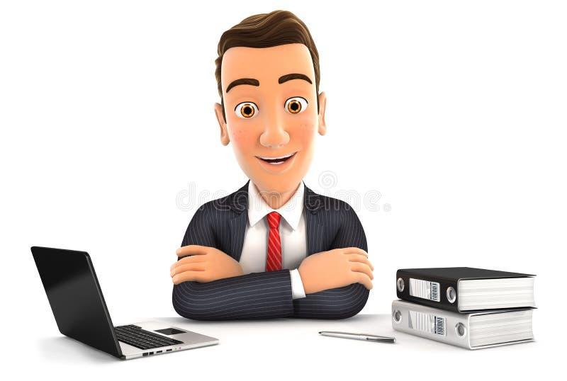hombre de negocios 3d que se sienta en el escritorio stock de ilustración