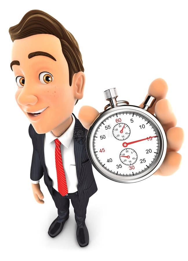 hombre de negocios 3d que sostiene un cronómetro ilustración del vector