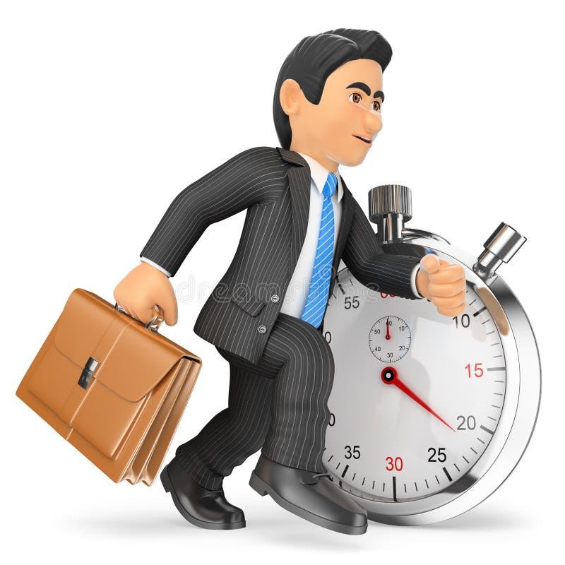 hombre de negocios 3D que trabaja contra el cronómetro Mida el tiempo del concepto ilustración del vector