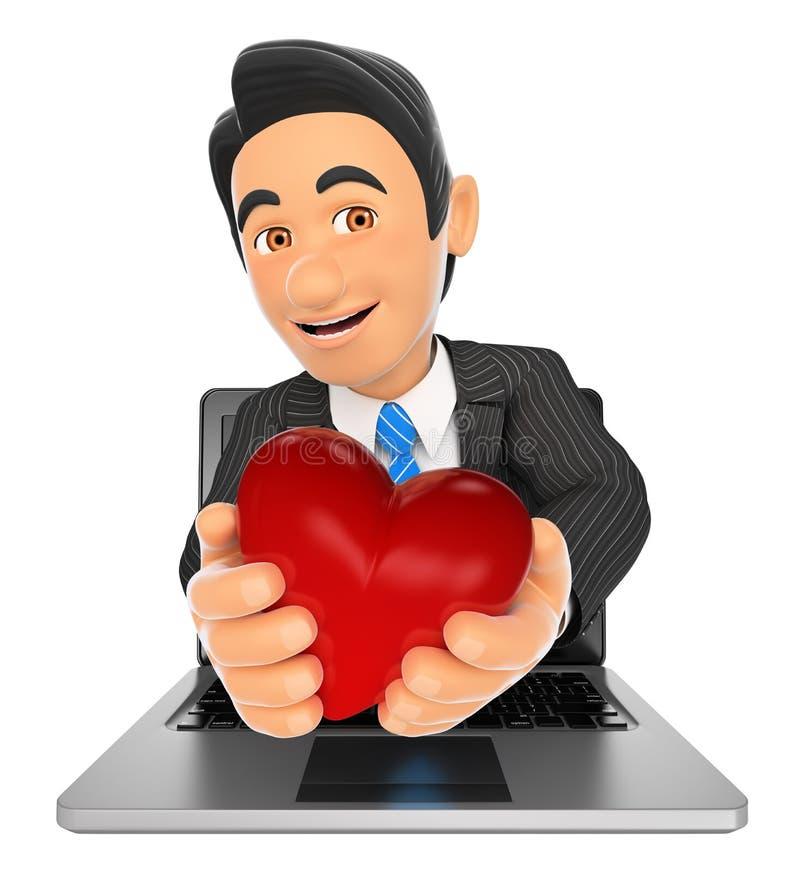 hombre de negocios 3D que viene hacia fuera una pantalla del ordenador portátil con un corazón rojo stock de ilustración
