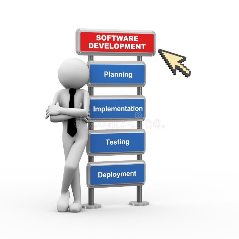 hombre de negocios 3d y concepto de desarrollo de programas ilustración del vector