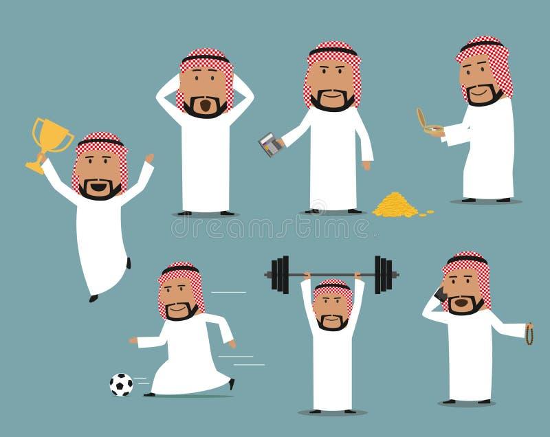 Hombre de negocios de Arabia Saudita en diversas actitudes fijadas stock de ilustración