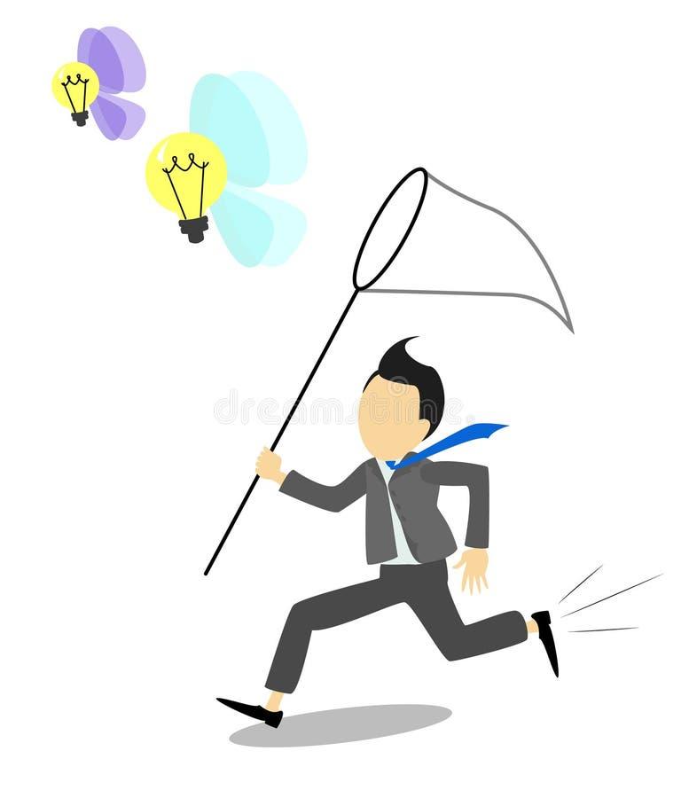 Hombre de negocios de cogida de las ideas del hombre de negocios que corre con una red para ilustración del vector