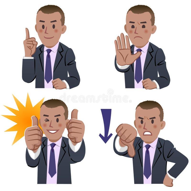 Expresiones africanas del hombre de negocios ilustración del vector