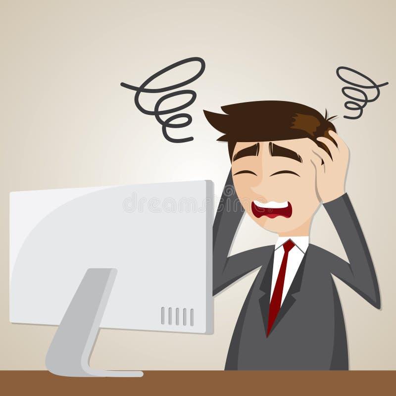 Hombre de negocios de la confusión de la historieta con el ordenador ilustración del vector