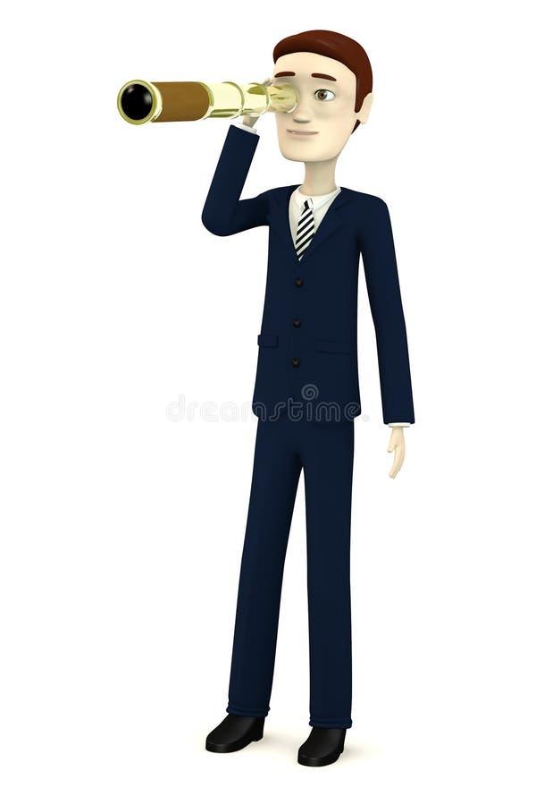 Hombre de negocios de la historieta con el monóculo ilustración del vector