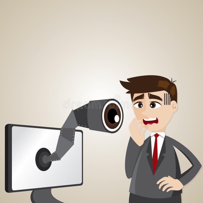 Hombre de negocios de la historieta con la cámara espía en el monitor de computadora ilustración del vector