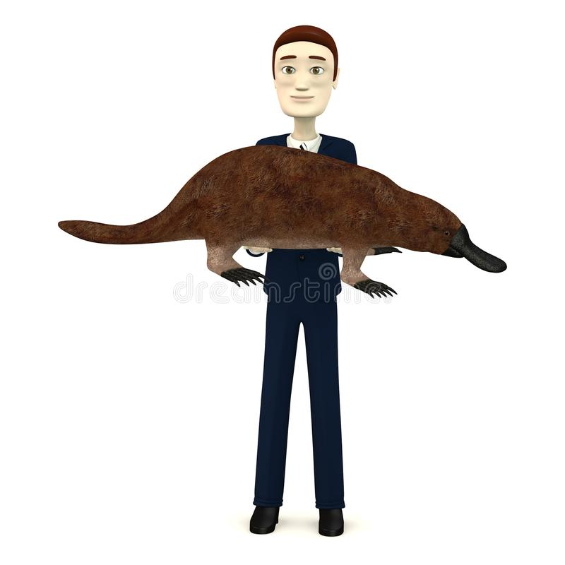 Hombre de negocios de la historieta con ornitorrinco ilustración del vector