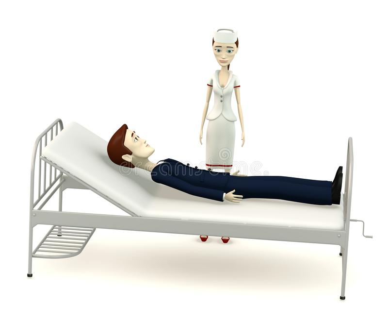 Hombre de negocios de la historieta en cama de hospital con la enfermera libre illustration
