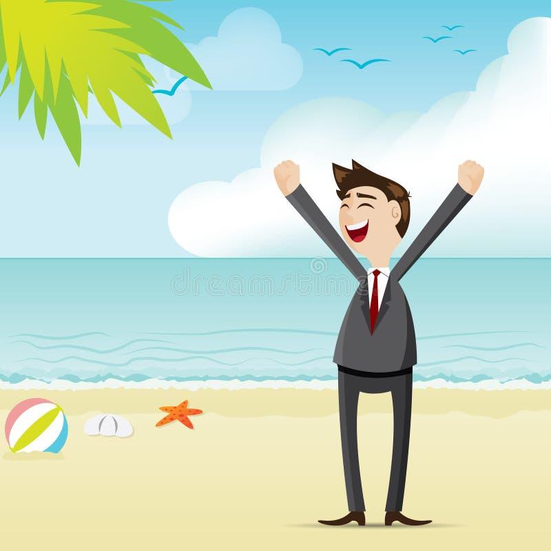 Hombre de negocios de la historieta en la playa stock de ilustración