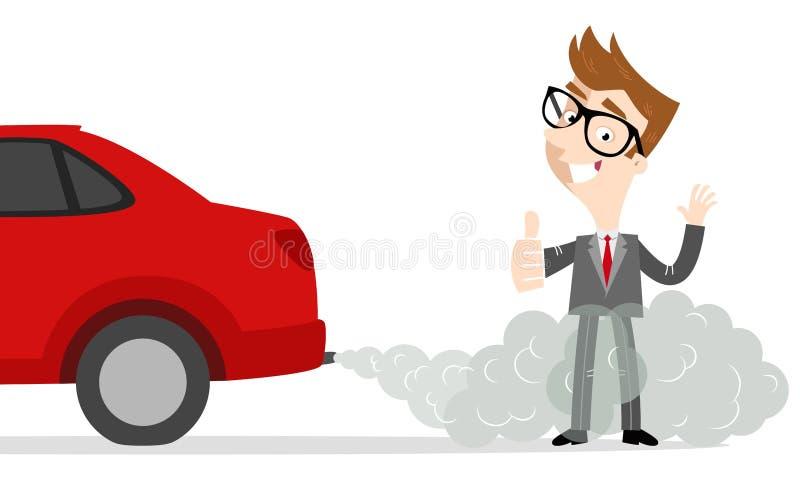 Hombre de negocios de la historieta que da los pulgares que se levantan en gas de escape del coche ilustración del vector