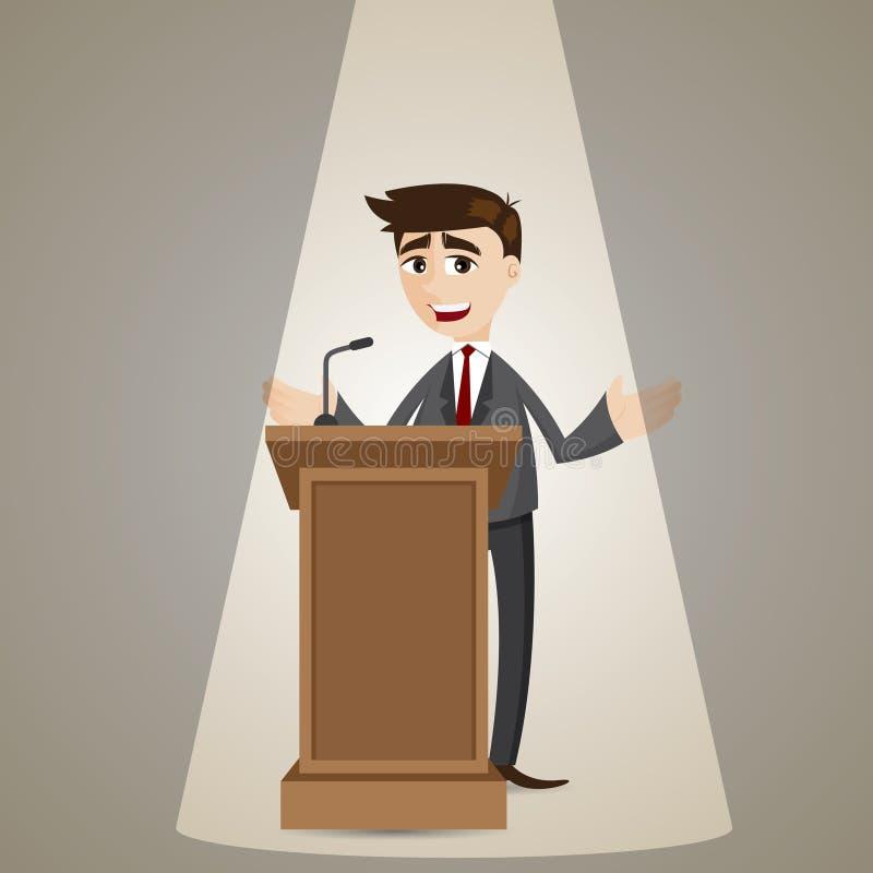Hombre de negocios de la historieta que habla en el podio stock de ilustración