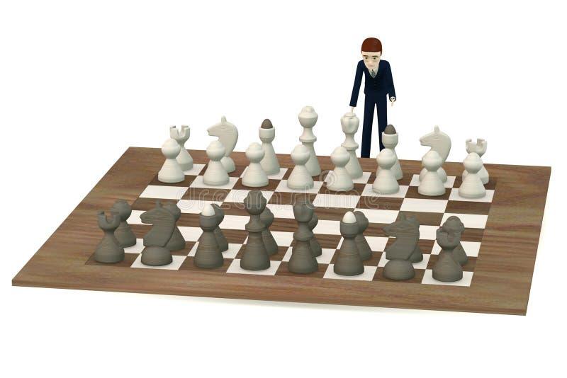 Hombre de negocios de la historieta que juega a ajedrez libre illustration