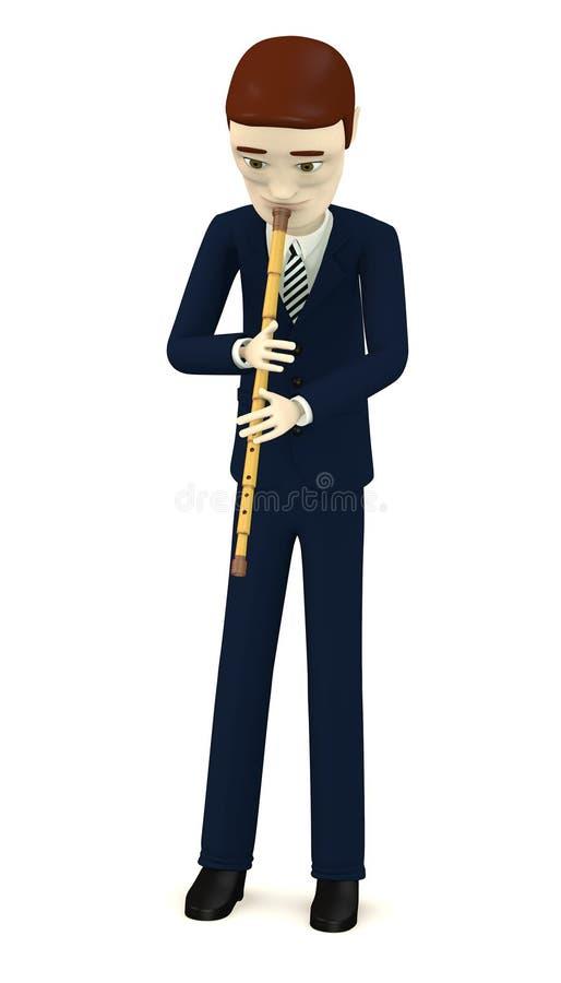 Hombre de negocios de la historieta que juega en la flauta india ilustración del vector