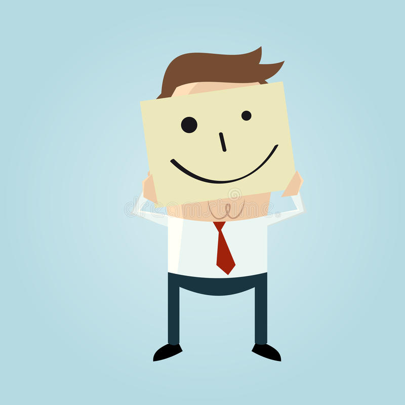 Hombre de negocios de la historieta que oculta su cara detrás de un garabato sonriente de la cara libre illustration