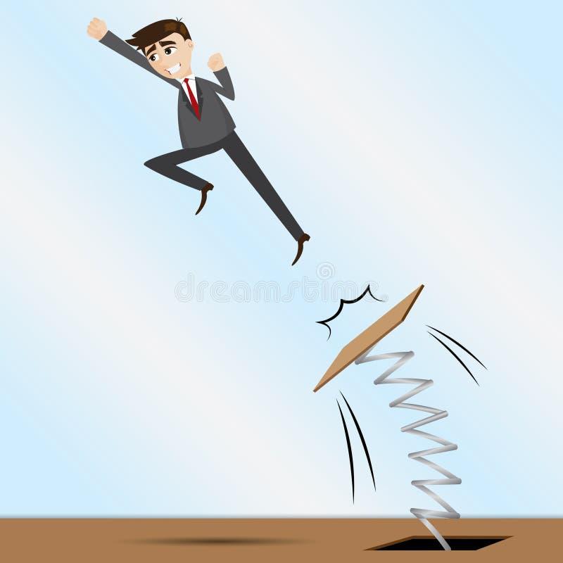 Hombre de negocios de la historieta que salta en el trampolín libre illustration