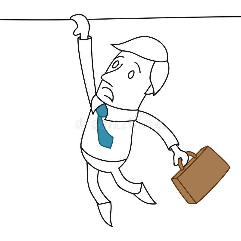 Hombre de negocios de la historieta que se aferra al borde stock de ilustración