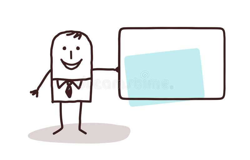 Hombre de negocios de la historieta que sostiene una tarjeta en blanco stock de ilustración