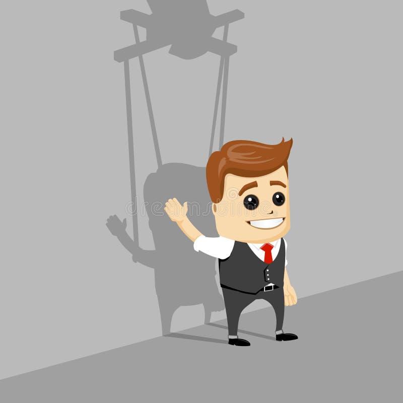 Hombre de negocios de la marioneta Marioneta del hombre de negocios en la mano controlada de las cuerdas libre illustration