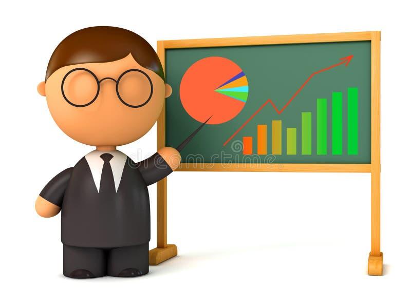 Hombre de negocios de la marioneta que se coloca en el tablero ilustración del vector