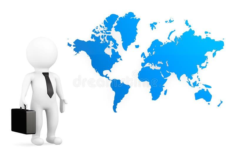 hombre de negocios de la persona 3d con el mapa del mundo stock de ilustración