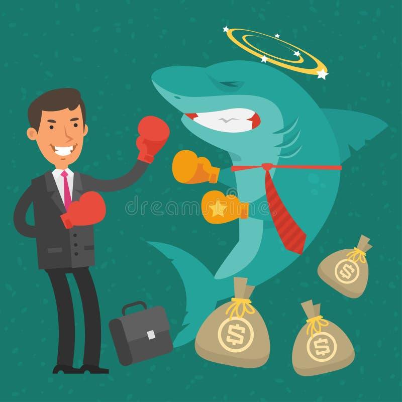 Hombre de negocios de la victoria en tiburón del negocio stock de ilustración