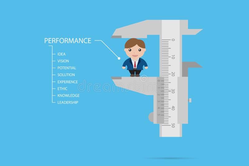 Hombre de negocios de medición por el calibrador a vernier, el recurso humano y el concepto del negocio ilustración del vector
