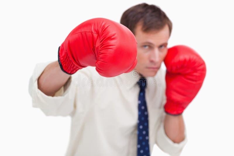 Hombre de negocios de perforación con los guantes de boxeo imagen de archivo libre de regalías