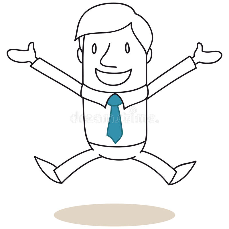 Hombre de negocios de salto con los brazos abiertos stock de ilustración