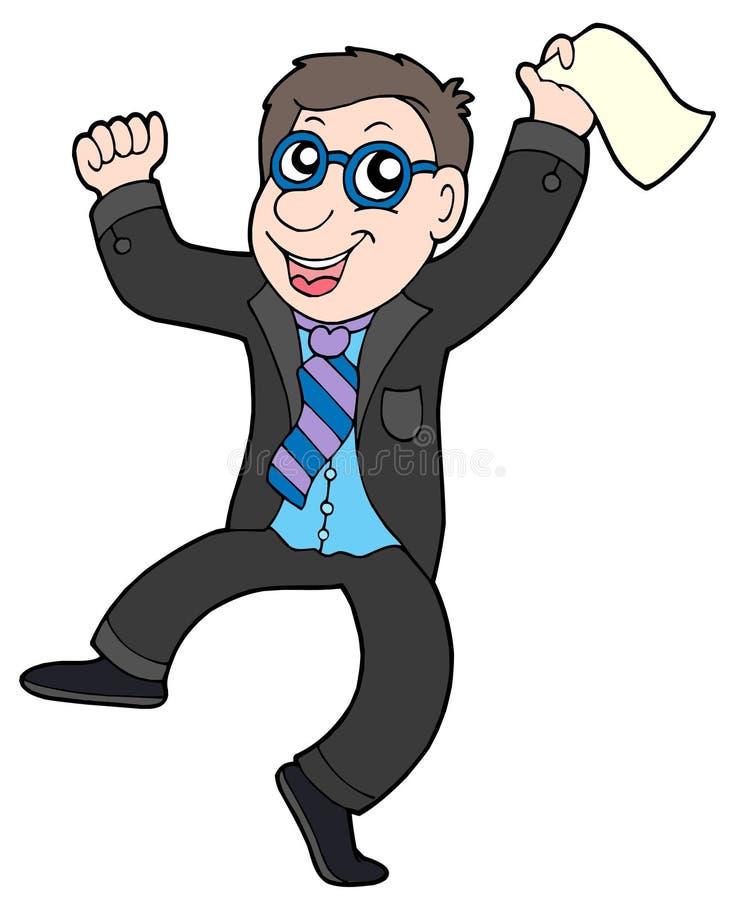 Hombre de negocios de salto feliz stock de ilustración