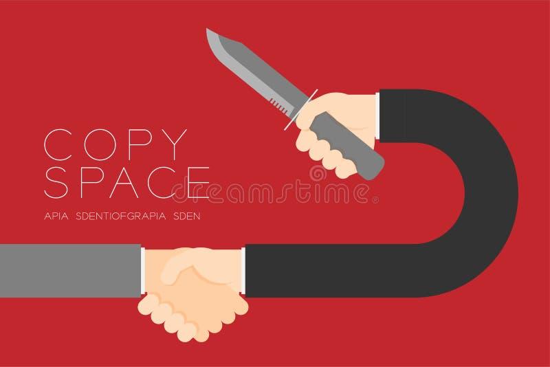 Hombre de negocios del apretón de manos con la conexión determinada del socio comercial del cuchillo ilustración del vector