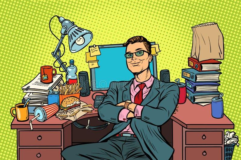 Hombre de negocios del arte pop, lugar de trabajo ilustración del vector