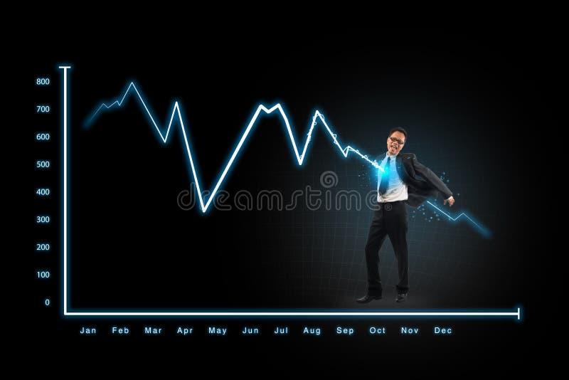 Hombre de negocios del ataque del gráfico del relámpago, conceptos para el negocio, financ imagenes de archivo
