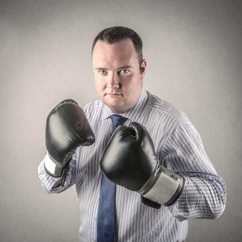 Hombre de negocios del boxeo fotografía de archivo libre de regalías