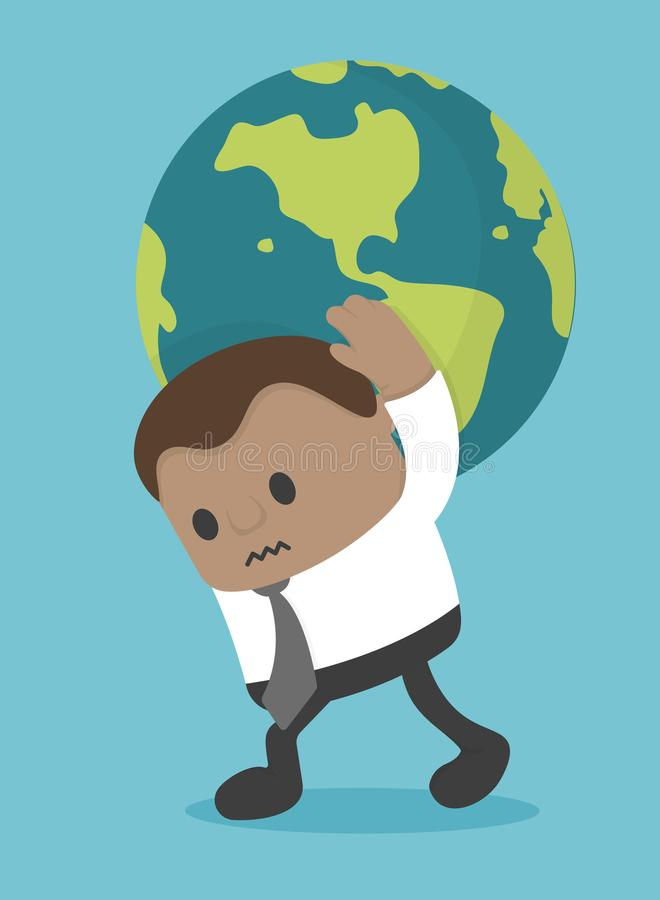 Hombre de negocios del concepto del negocio que lleva el mundo ilustración del vector