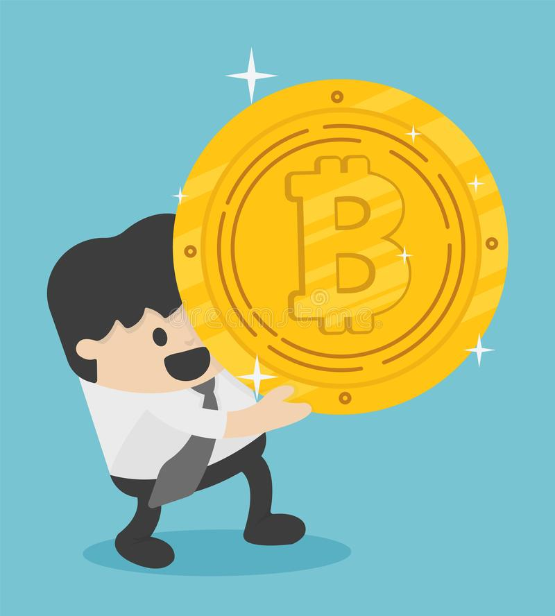 Hombre de negocios del concepto que lleva Bitcoins enorme ilustración del vector