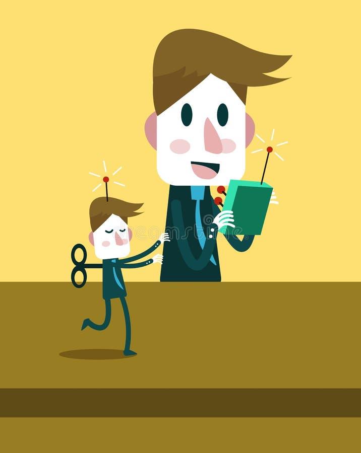 Hombre de negocios del control de Boss por el telecontrol concepto de la dirección de personales stock de ilustración