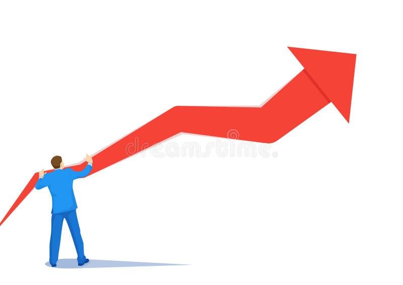 Hombre de negocios del desarrollo ascendente por concepto ascendente del vector de la flecha Símbolo del crecimiento, éxito, desa ilustración del vector