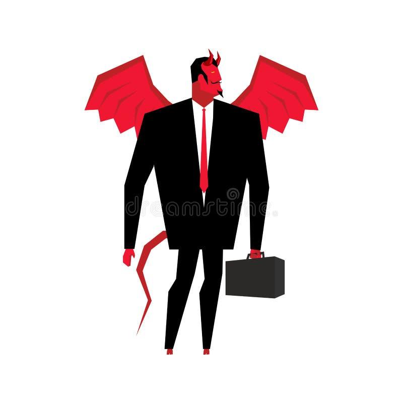 Hombre de negocios del diablo Satanás es jefe del infierno Lucifer en el negocio su stock de ilustración