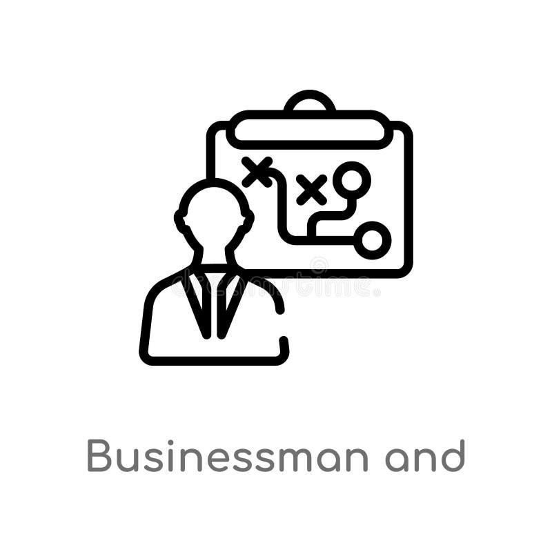 hombre de negocios del esquema e icono del vector de las t?ctica l?nea simple negra aislada ejemplo del elemento del concepto de  libre illustration