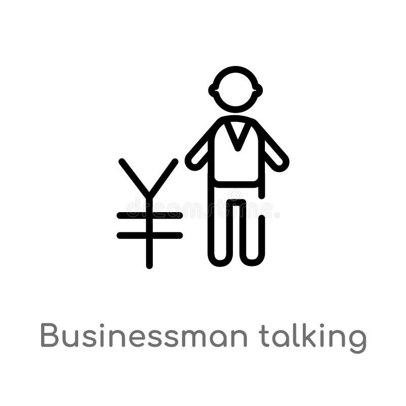hombre de negocios del esquema que habla del icono del vector de los yenes l?nea simple negra aislada ejemplo del elemento del co stock de ilustración