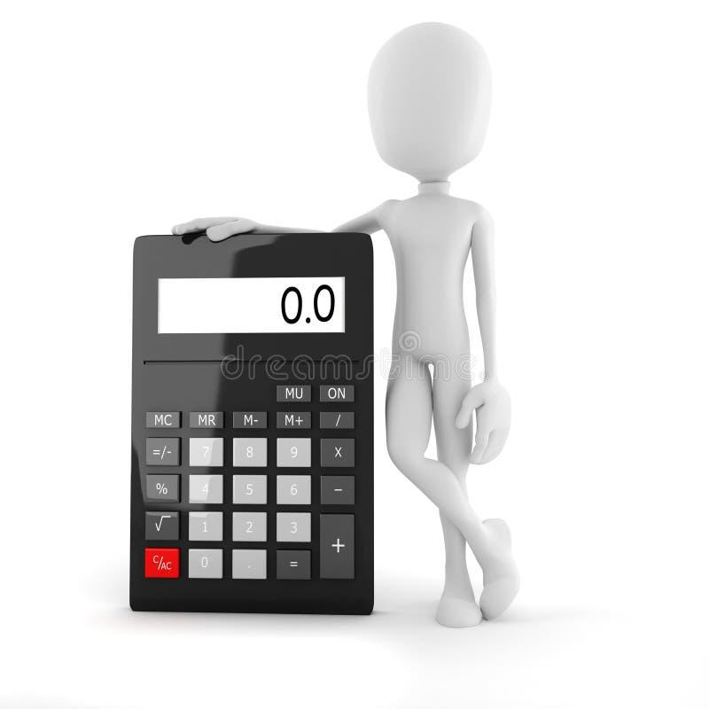 hombre de negocios del hombre 3d que se coloca cerca de una calculadora grande libre illustration