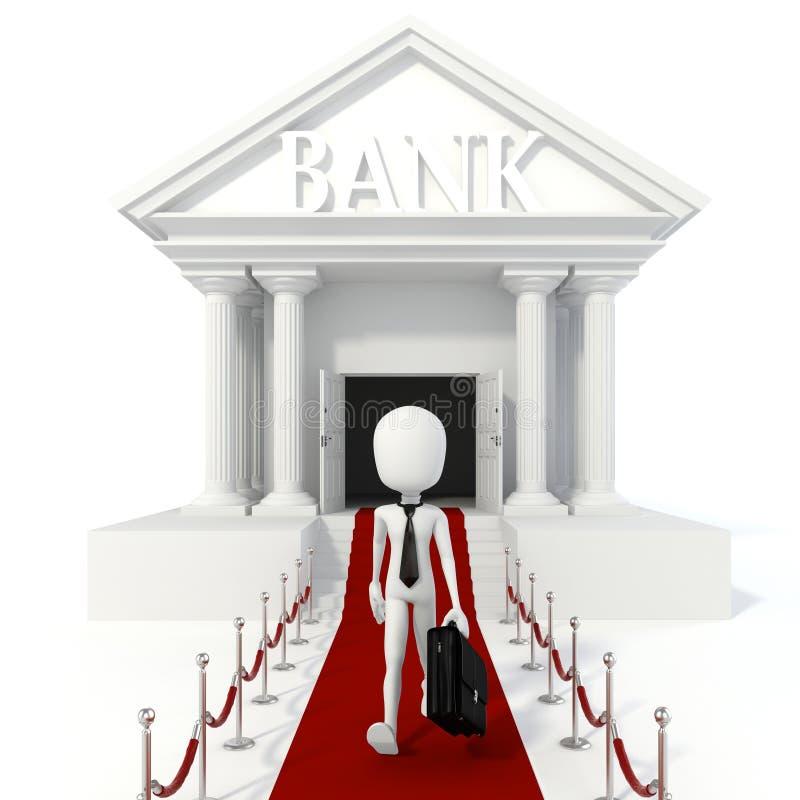 hombre de negocios del hombre 3d y edificio de banco libre illustration