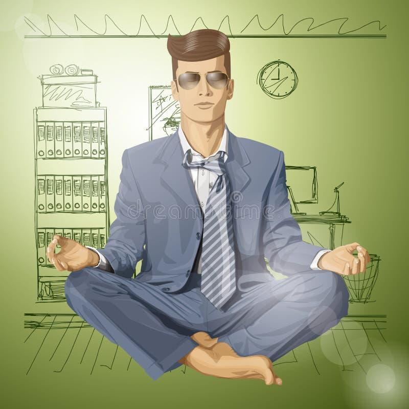 Hombre de negocios del inconformista del vector en Lotus Pose Meditatin libre illustration