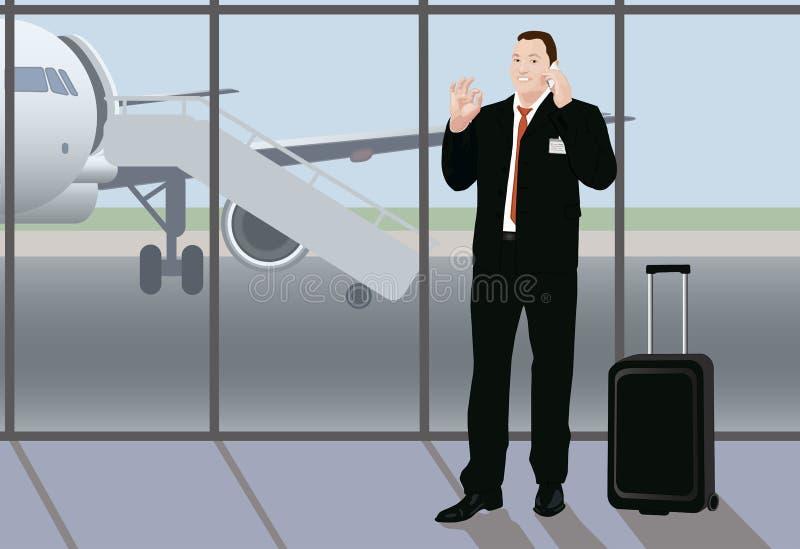 Hombre de negocios del multitask del éxito en el aeropuerto libre illustration