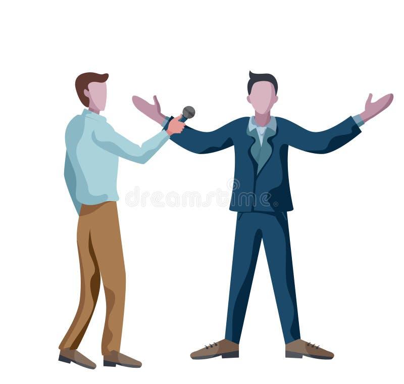 Hombre de negocios del periodista y hombre de negocios que se entrevistan con que contesta con el brazo abierto ilustración del vector